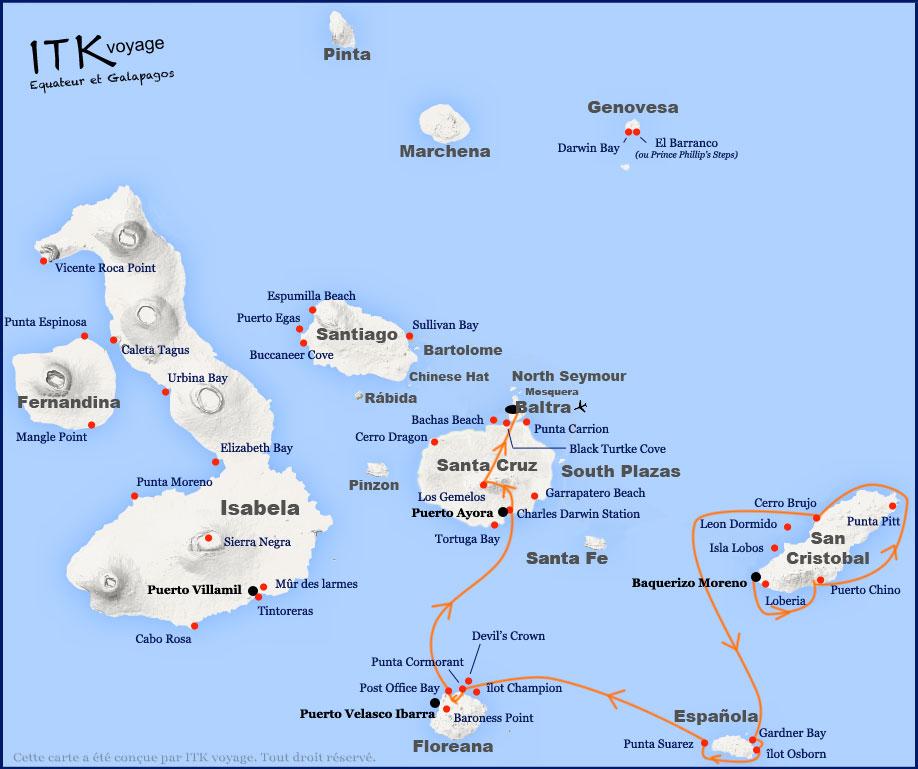 Croisière Seaman Journey Galapagos, itinéraire 5 jours C