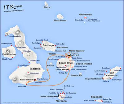 Itinéraire au coeur des îles Galapagos