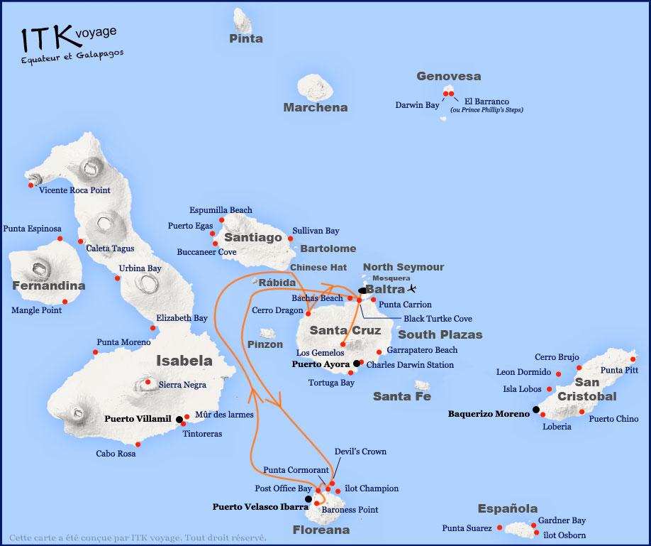 Croisière Galapagos Yolita, itinéraire 4 jours
