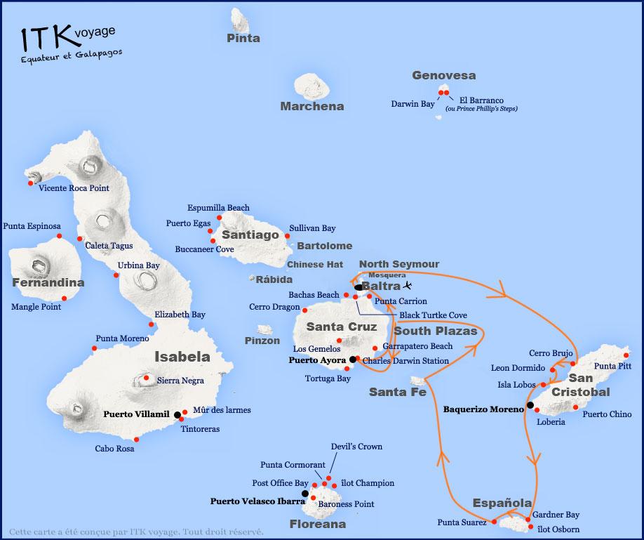 Croisière Galapagos Yolita, itinéraire 5 jours