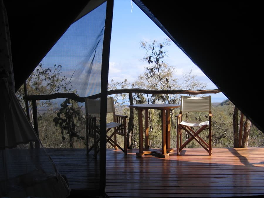 Lodge Safari Camp, Île Santa Cruz, Galapagos, Equateur, terrasse privée d'une tente