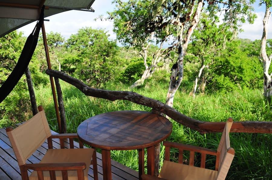 Lodge Safari Camp, Île Santa Cruz, Galapagos, Equateur, terrasse d'une tente de luxe