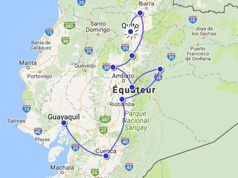 Itineraire du séjour en autotour en Équateur
