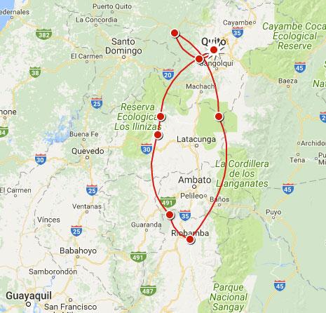 Trek en Equateur, l'itinéraire