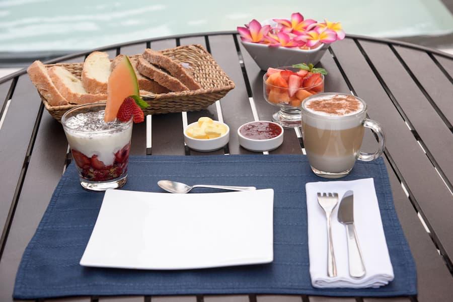 Lodge Nautilus, Puerto Lopez, côte Pacifique d'Equateur, petit-déjeuner