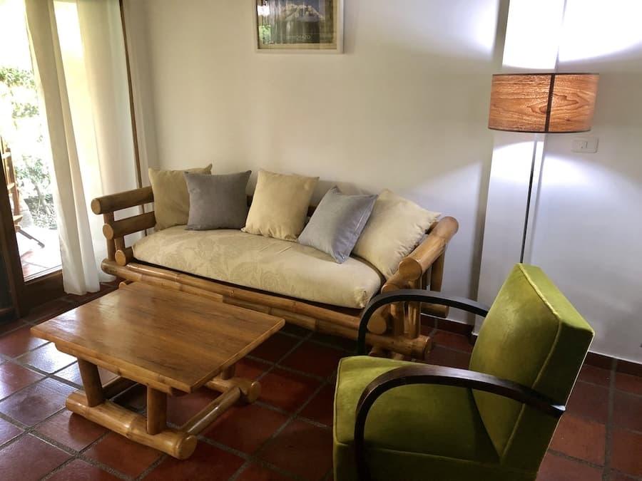 Lodge Nautilus, Puerto Lopez, côte Pacifique d'Equateur, salon d'une villa