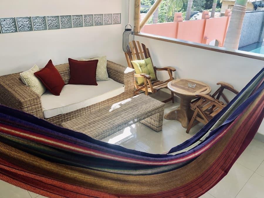 Lodge Nautilus, Puerto Lopez, côte Pacifique d'Equateur, terrasse d'une villa