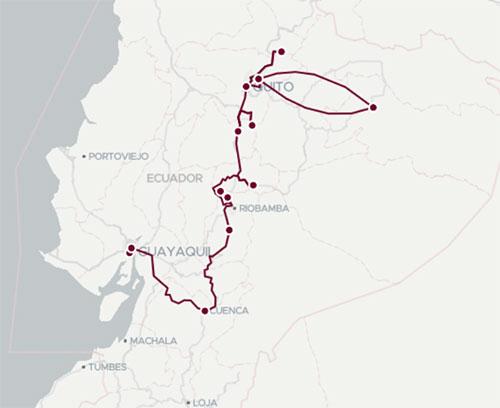 Iitnéraire du voyage de noces en Équateur