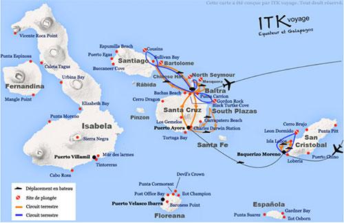 Voyage plongée aux îles Galapagos, itinéraire