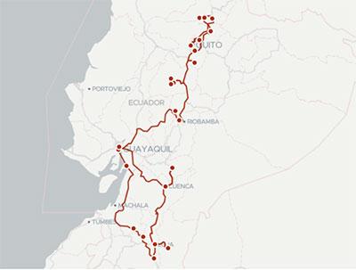 Iitnéraire voyage andin, du sud au nord de l'Équateur