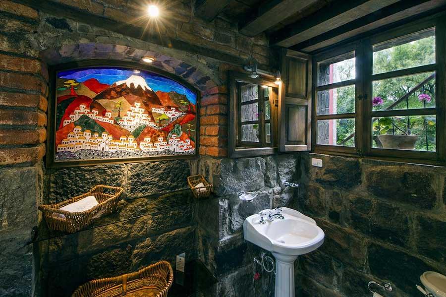 Salle de bains chambre supérieure de l'Hacienda Hato Verde