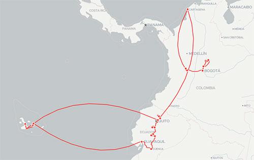 Itinéraire du séjour Équateur-Colombie