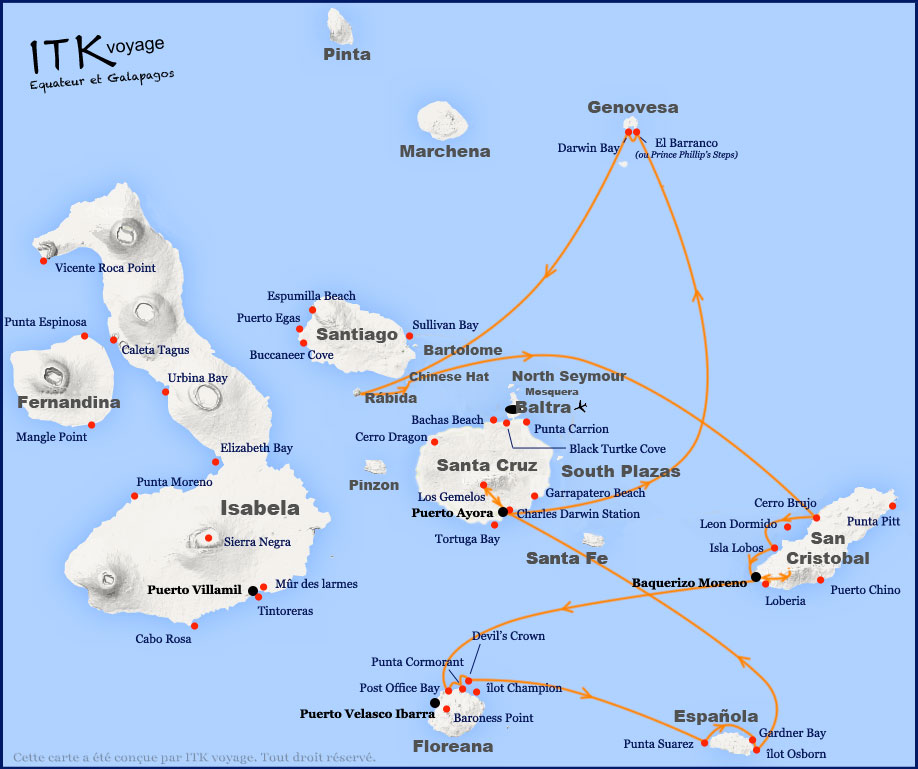 Croisière Grand Majestic Galapagos, itinéraire 8 jours A