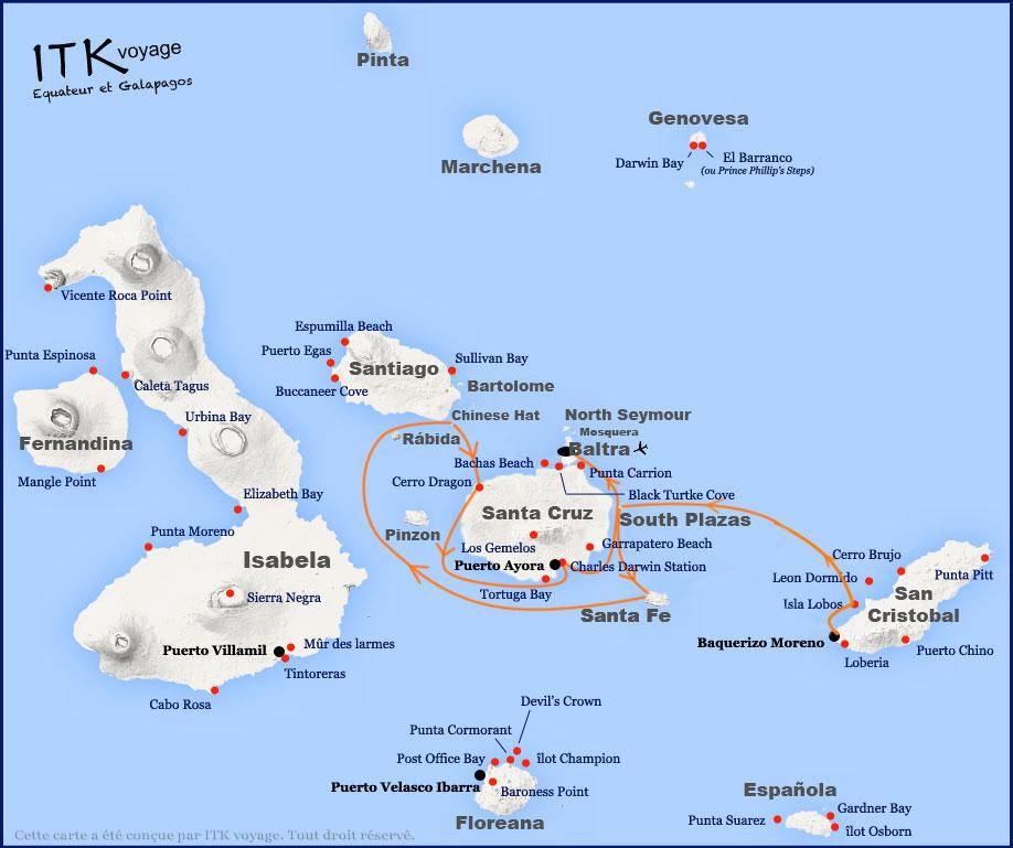 Croisière Archipel II Galapagos, itinéraire 4 jours A