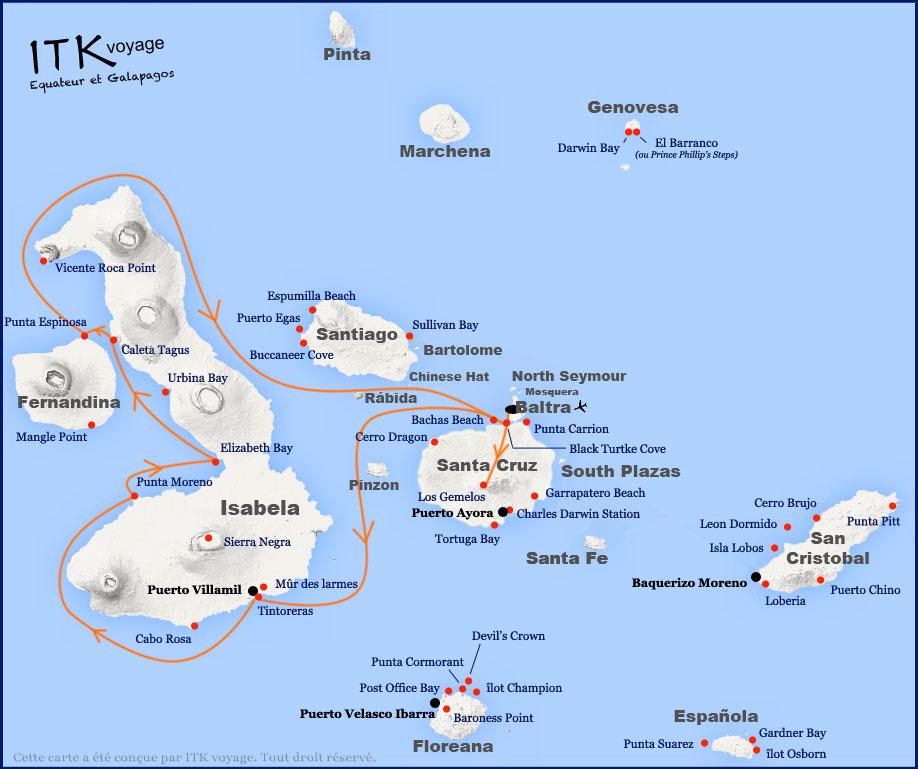 Croisière Archipel II Galapagos, itinéraire 5 jours A