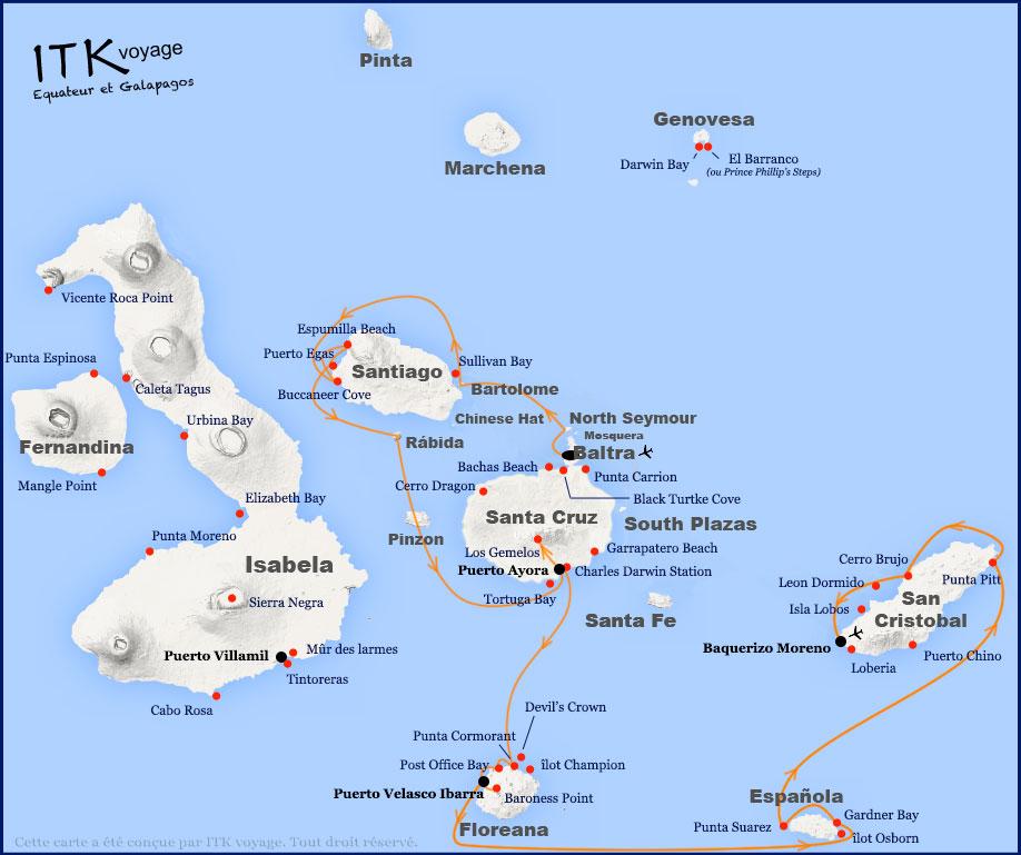 Croisière Archipel II Galapagos, itinéraire 8 jours B