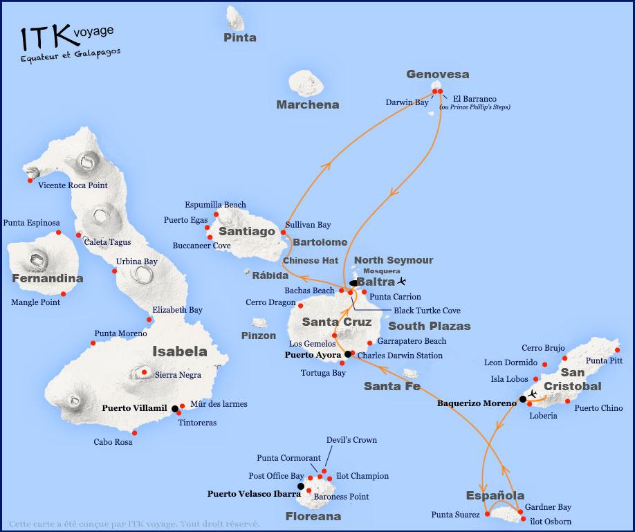 Croisière Galapagos Beluga, itinéraire 6 jours Chatam