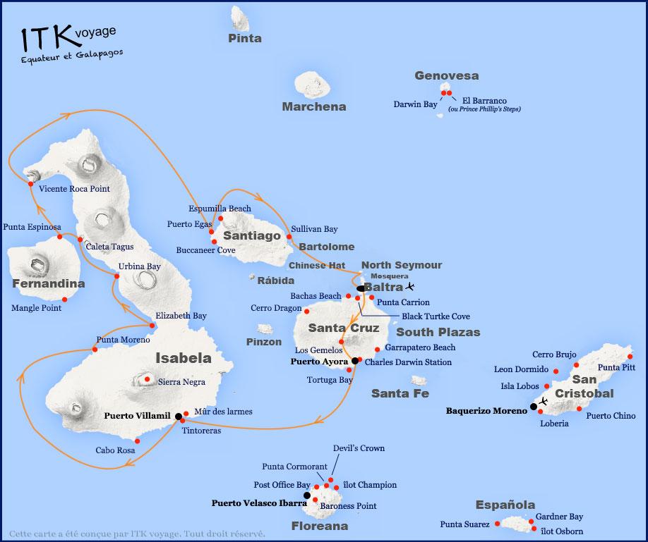 Croisière Galapagos Beluga, itinéraire 6 jours Isabela