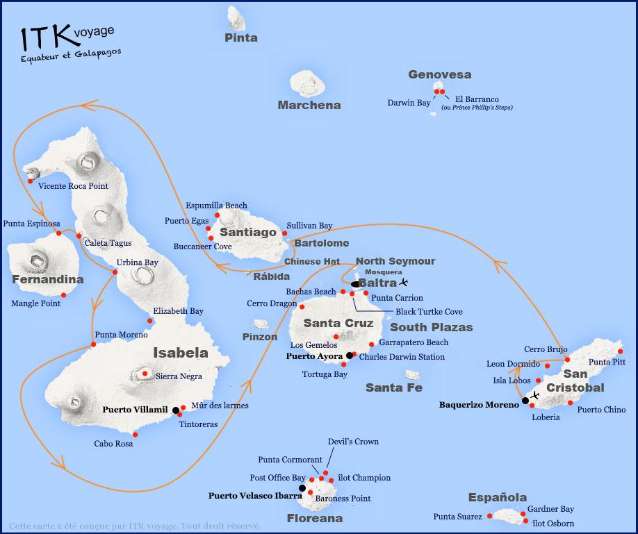 Croisière Galapagos Calipso, itinéraire 5 jour