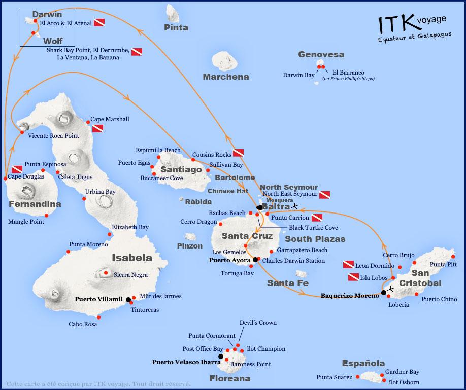 Croisière Galapagos Calipso, itinéraire plongée