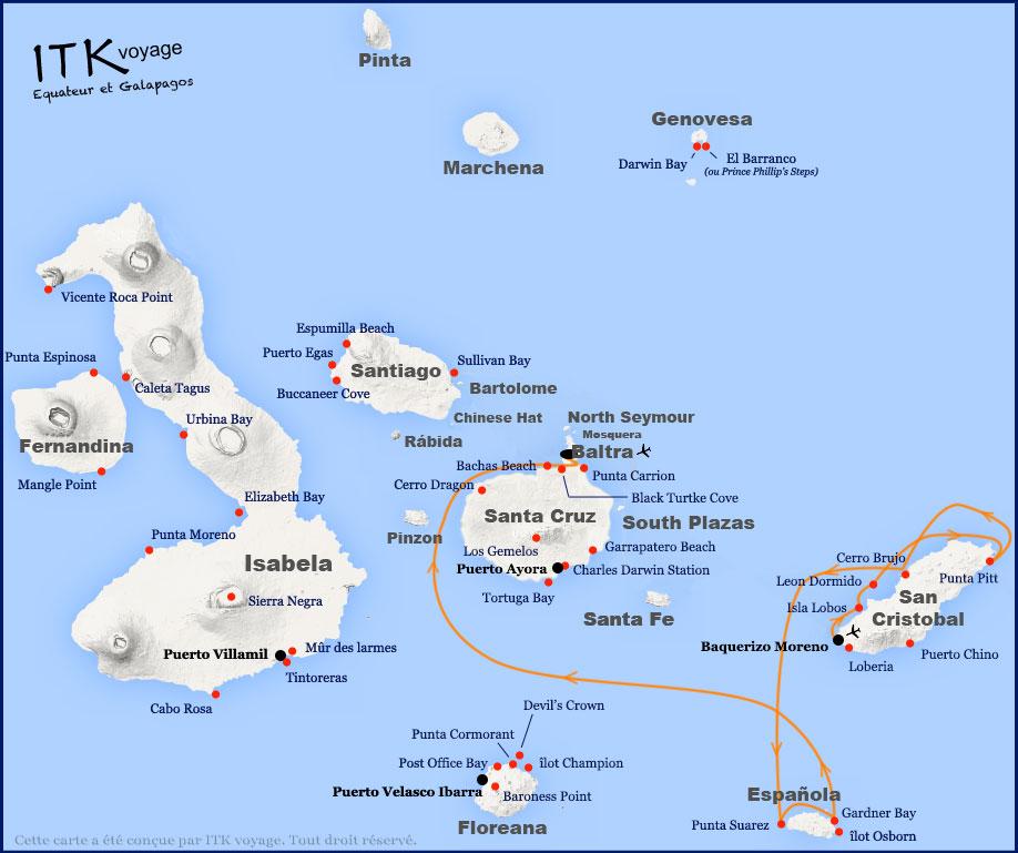 Croisière Camila Galapagos, itinéraire 4 jours