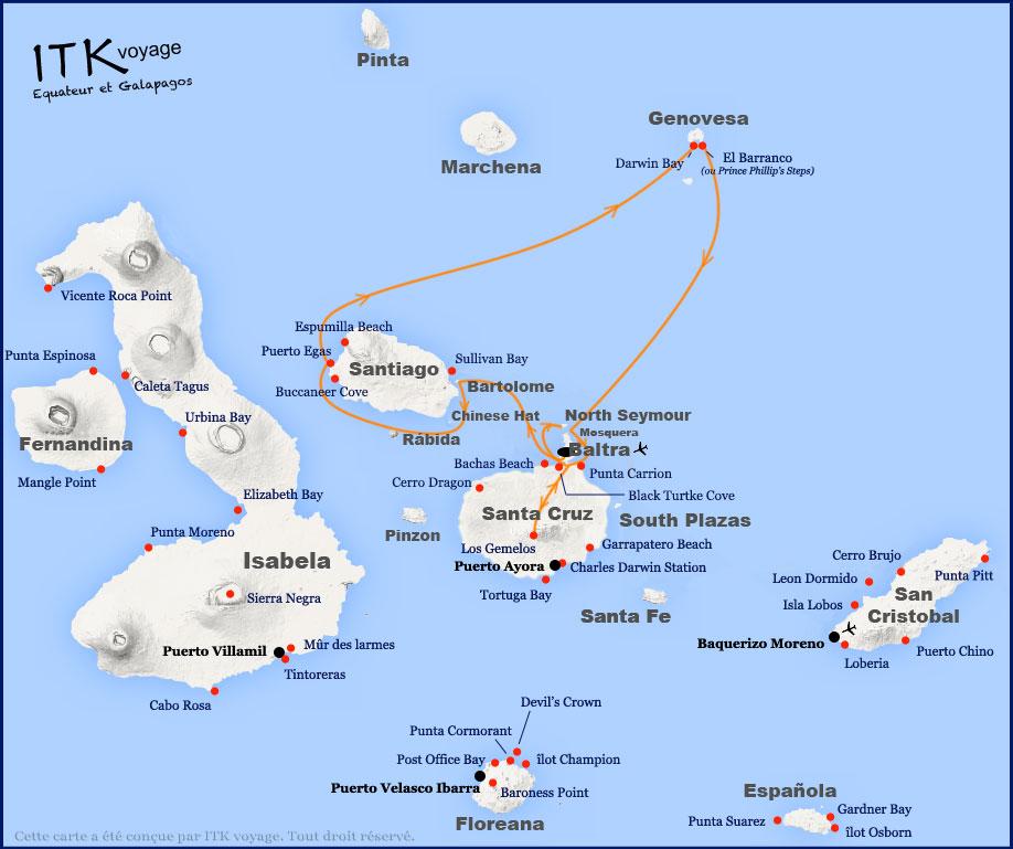 Croisière Camila Galapagos, itinéraire 5 jours