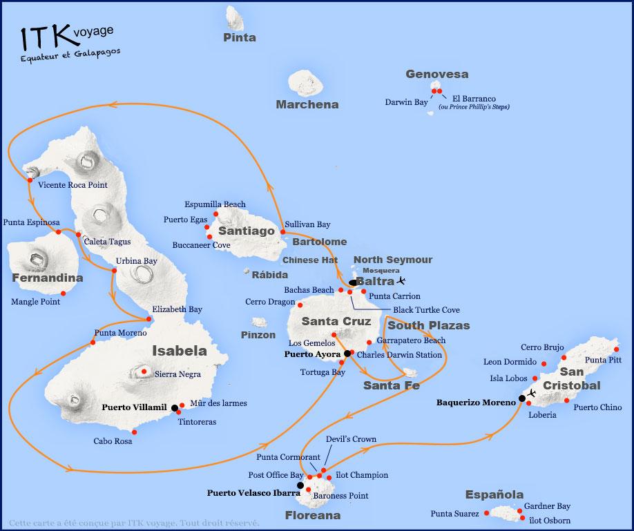 Croisière Camila Galapagos, itinéraire 8 jours A