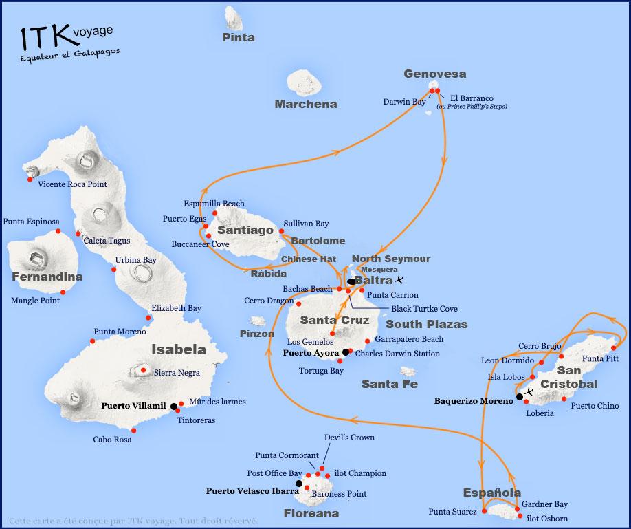 Croisière Camila Galapagos, itinéraire 8 jours B