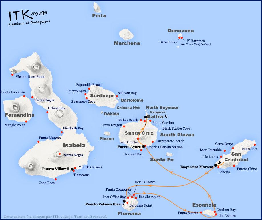 Croisière Grand Majestic Galapagos, itinéraire 4 jours