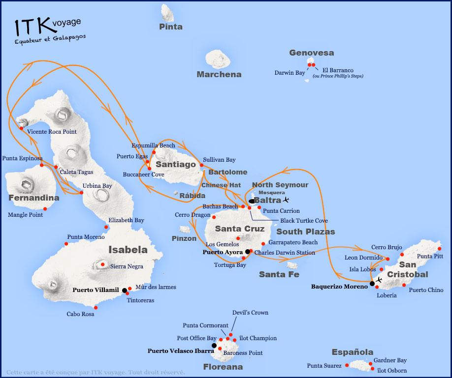 Croisière Grand Majestic Galapagos, itinéraire 8 jours B
