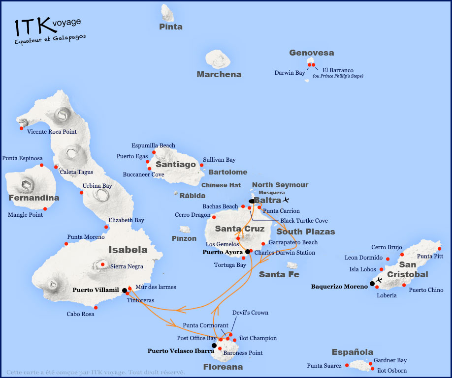 Croisière Galapagos Grand Queen Beatriz, itinéraire 4 jours A