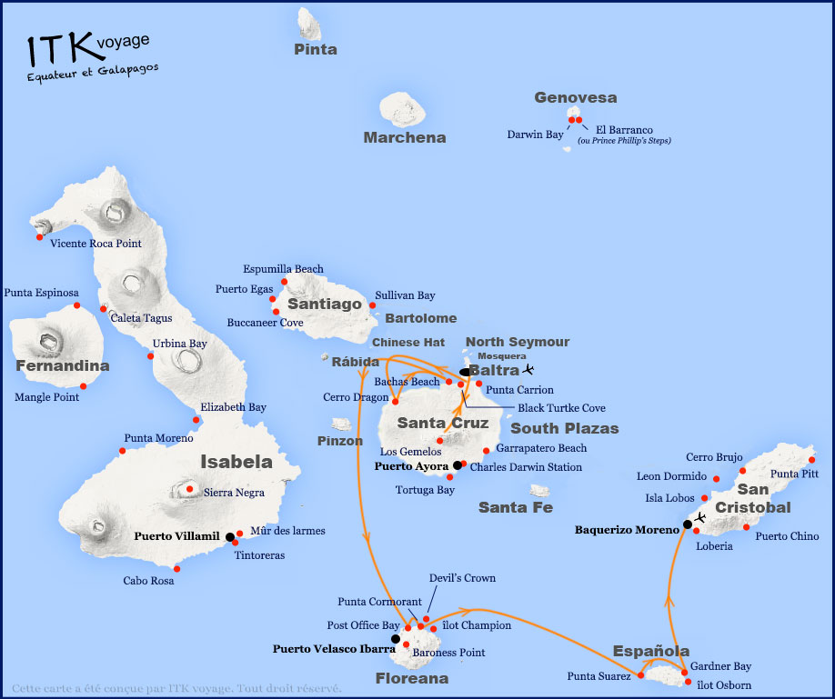 Croisière Infinity Galapagos, itinéraire 5 jours