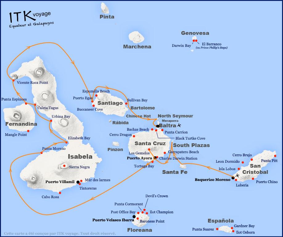 Croisière Infinity Galapagos, itinéraire 8 jours B
