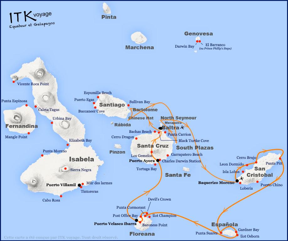 Croisière Origin Galapagos, itinéraire 8 jours A