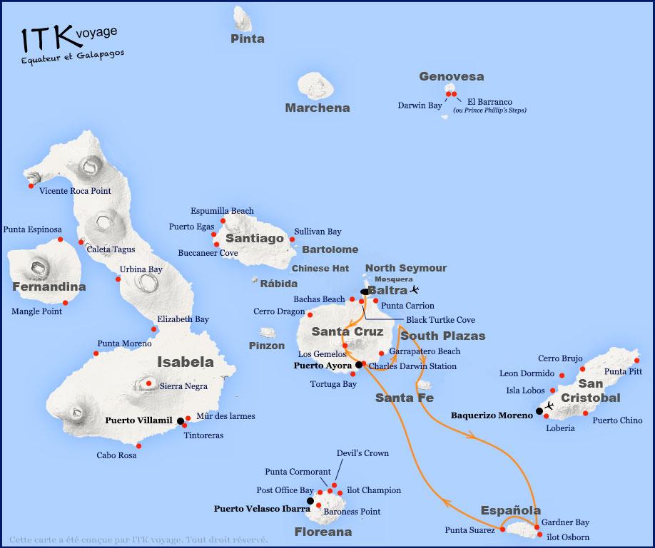 Croisière Passion Galapagos, itinéraire 4 jours