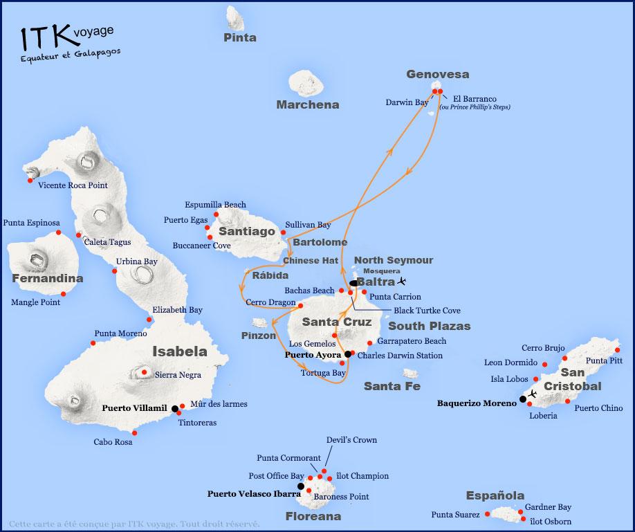 Croisière Passion Galapagos, itinéraire 5 jours