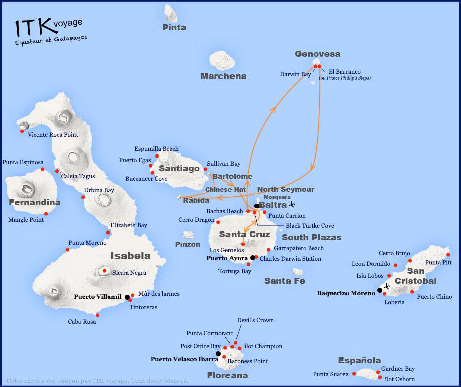 Croisière Galapagos Nemo 1, itinéraire 4 jours A