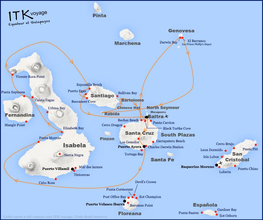Croisière Galapagos Nemo 1, itinéraire 8 jours A