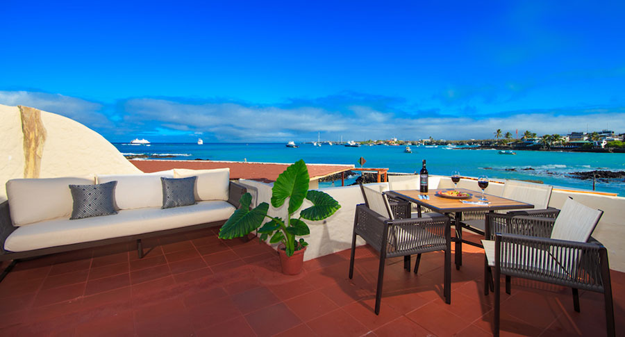 îles Galapagos: hôtel Galapagos Habitat, terrasse suite