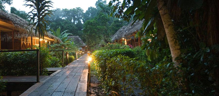 Sacha Lodge, Parc Yasuni, accès aux cabanes