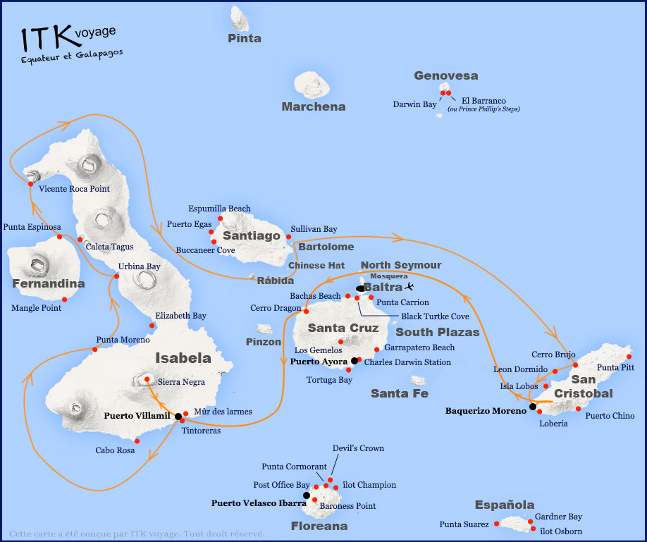 Croisière Elite Galapagos, itinéraire 8j A