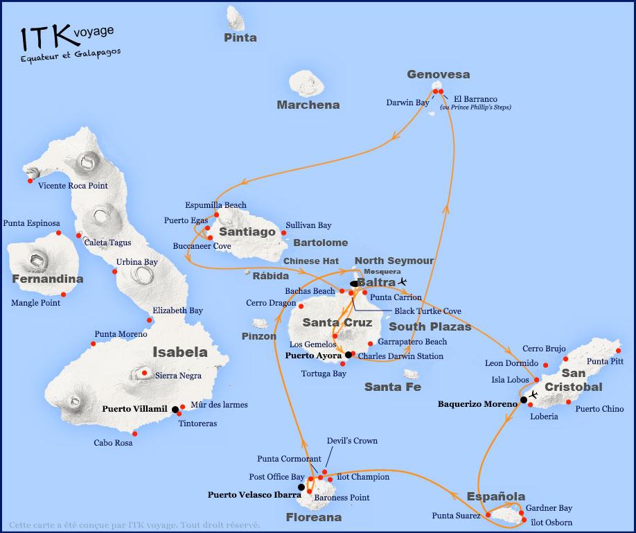 Croisière Elite Galapagos, itinéraire 8j B