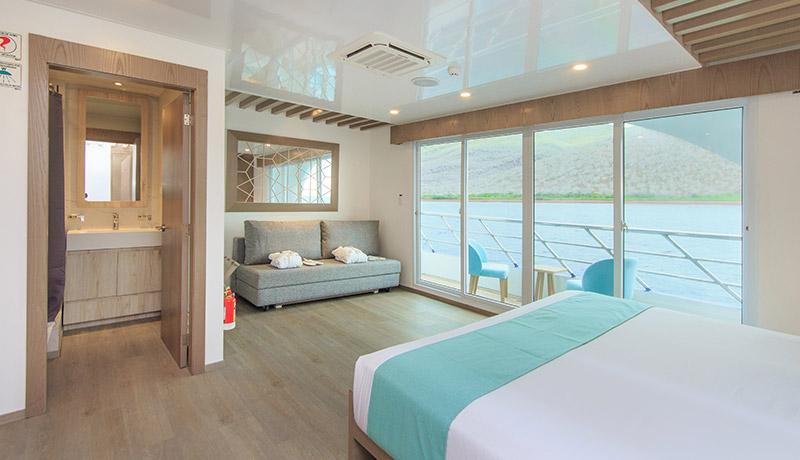 Catamaran Endemic, croisière de luxe aux Galapagos, suite matrimoniale