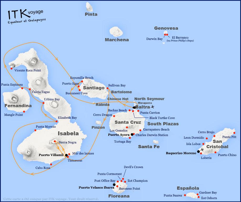 Croisière Endemic Galapagos, itinéraire 6j F