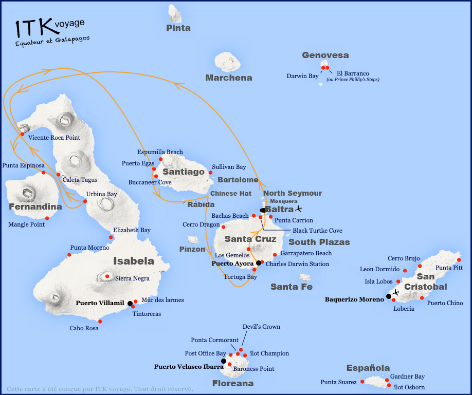 Croisière Fragata Galapagos, itinéraire 5 jours B