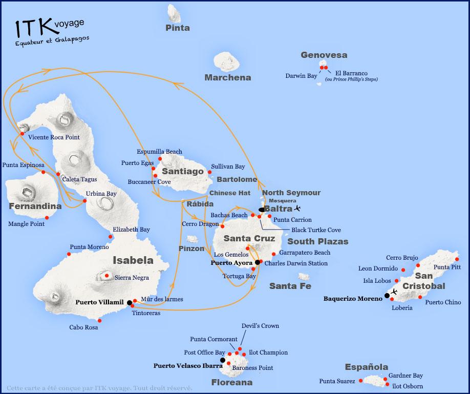Croisière Fragata Galapagos, itinéraire 8j D